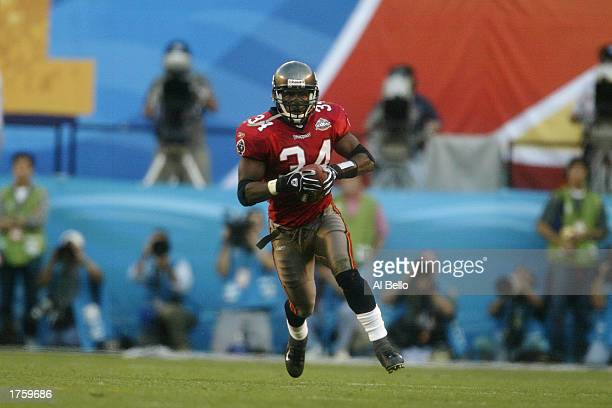 MVP safety Dexter Jackson of the Tampa Bay Buccaneers runs against the Oakland Raiders during Super Bowl XXXVII at Qualcomm Stadium on January 26...