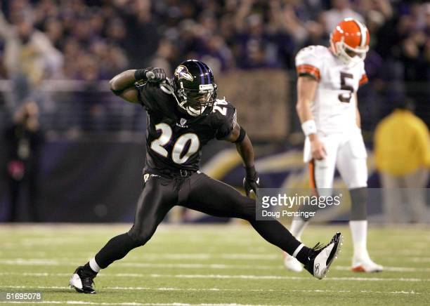 Safety Ed Reed of the Baltimore Ravens celebrates a tackle as quarterback Jeff Garcia of the Cleveland Browns leaves the field on November 7 2004 at...