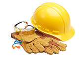 various type of protective workwears against white background