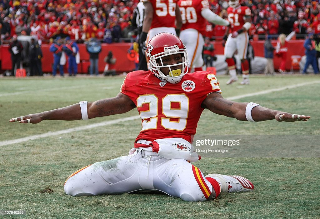Safety <a gi-track='captionPersonalityLinkClicked' href=/galleries/search?phrase=Eric+Berry+-+American+Football+Player&family=editorial&specificpeople=4501099 ng-click='$event.stopPropagation()'>Eric Berry</a> #29 of the Kansas City Chiefs celebrates after breaking up a pass to tight end Todd Heap #86 of the Baltimore Ravens in the endzone during their 2011 AFC wild card playoff game at Arrowhead Stadium on January 9, 2011 in Kansas City, Missouri.
