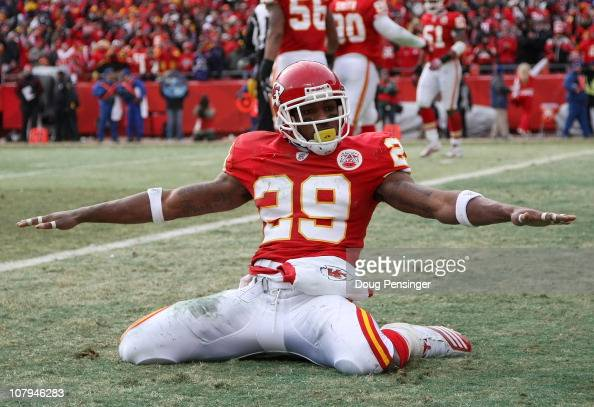 Safety Eric Berry of the Kansas City Chiefs celebrates after breaking up a pass to tight end Todd Heap of the Baltimore Ravens in the endzone during...