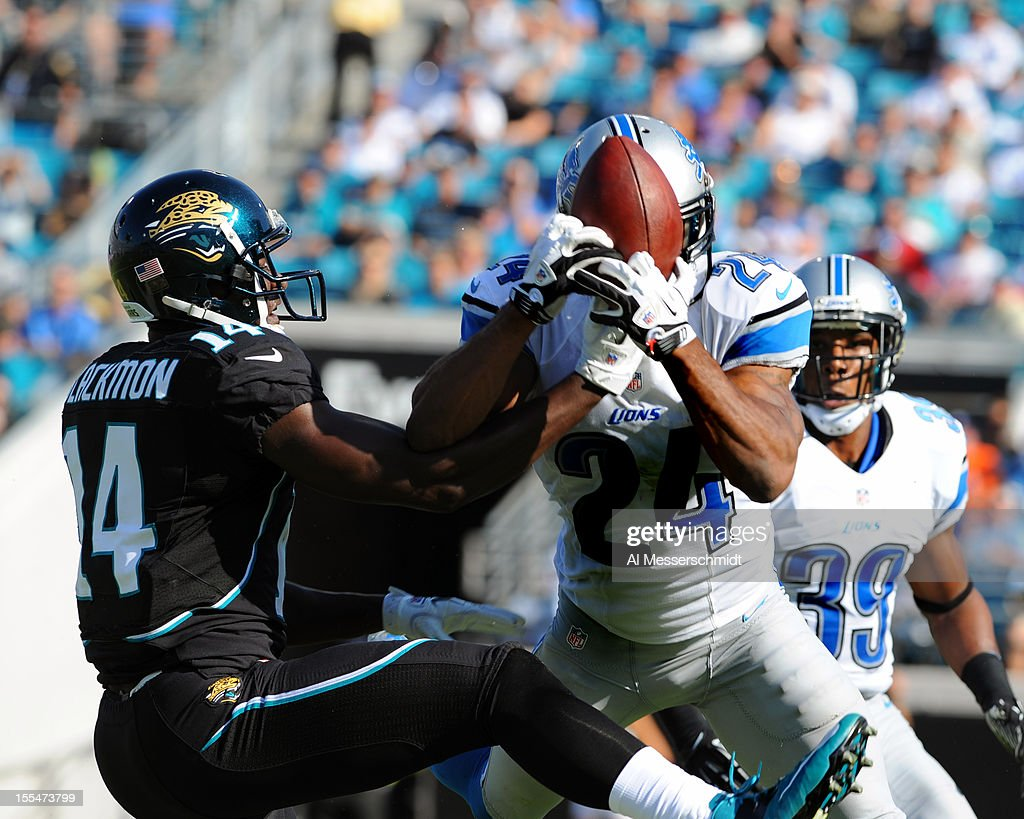 Safety Erik Coleman #24 of the Detroit Lions intercepts a pass against the Jacksonville Jaguars November 4, 2012 at EverBank Field in Jacksonville, Florida. The Lions won 31 - 14.