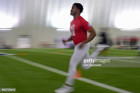 Safety Evan Scott runs the 40 yard dash during the 2017 NFL Houston Regional Combine on February 18 2017 at the Texans Training Facility Houston Texas