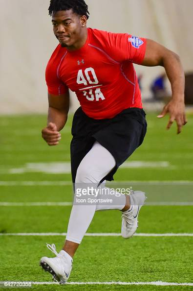 Safety Evan Scott runs the shuttle drill during the 2017 NFL Houston Regional Combine on February 18 2017 at the Texans Training Facility Houston...