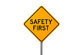 Safety first sign isolated on white background. Safety concept. Horizontal composition with copy space. Clipping path is included.