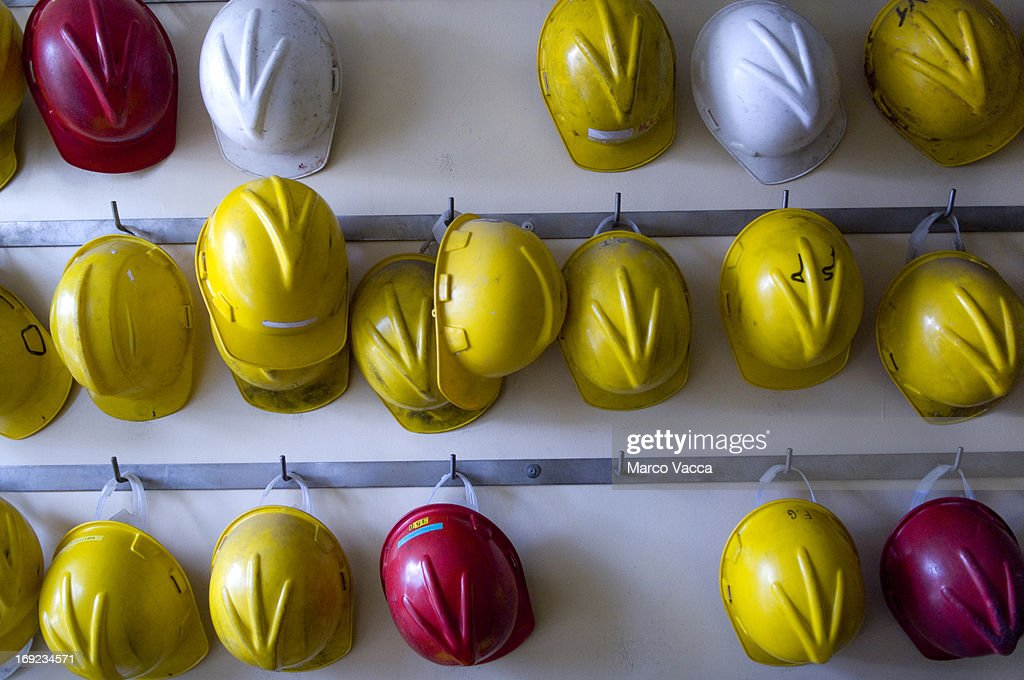Safety helmet on a rack