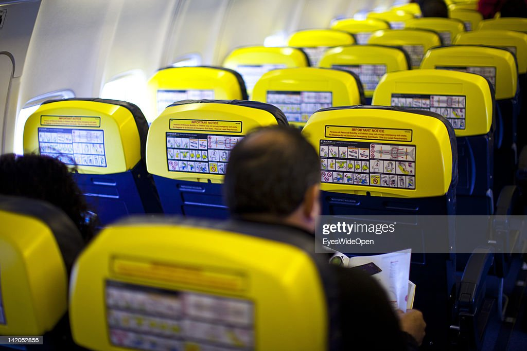 Safety instructions for Passengers boarding for departure of a RyanAir flight to Alicante, Spain at Allgaeu Airport on February 18, 2012 in Memmingen, Germany.