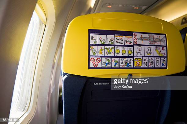 Safety instructions on airplane seat