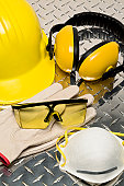 Safety items including hard hat, glasses, gloves,
