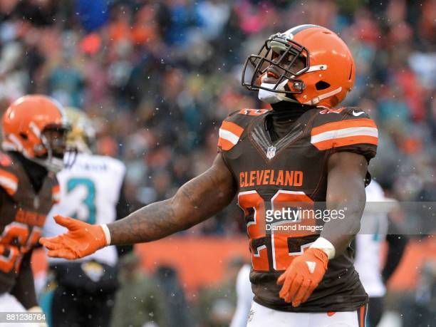 Safety Jabrill Peppers of the Cleveland Browns celebrates a missed field goal at the end of the first half of a game on November 19 2017 against the...