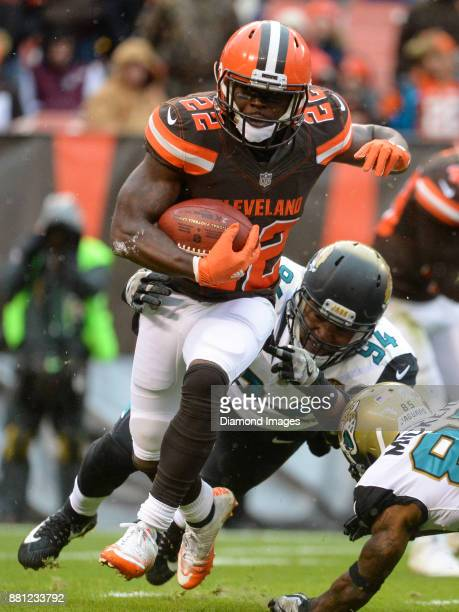 Safety Jabrill Peppers of the Cleveland Browns returns a punt in the second quarter of a game on November 19 2017 against the Jacksonville Jaguars at...