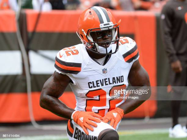 Safety Jabrill Peppers of the Cleveland Browns stretches on the field prior to a game on October 8 2017 against the New York Jets at FirstEnergy...