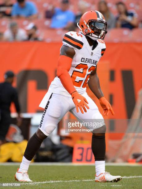 Safety Jabrill Peppers of the Cleveland Browns warms up prior to a preseason game on August 10 2017 against the New Orleans Saints at FirstEnergy...