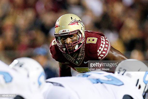 Safety Jalen Ramsey of the Florida State Seminoles waits for the snap during the game against the Citadel Bulldogs at Doak Campbell Stadium on Bobby...