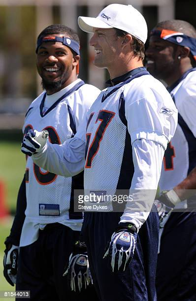 Safety John Lynch of the Denver Broncos shares a laugh with teammates during mini camp on June 12 2008 at the Bronco training facility in Englewood...