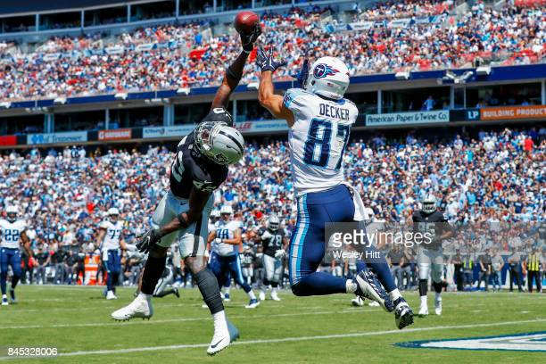 Safety Karl Joseph of the Oakland Raiders deflects a pass intended for wide receiver Eric Decker of the Tennessee Titans in the first half at Nissan...