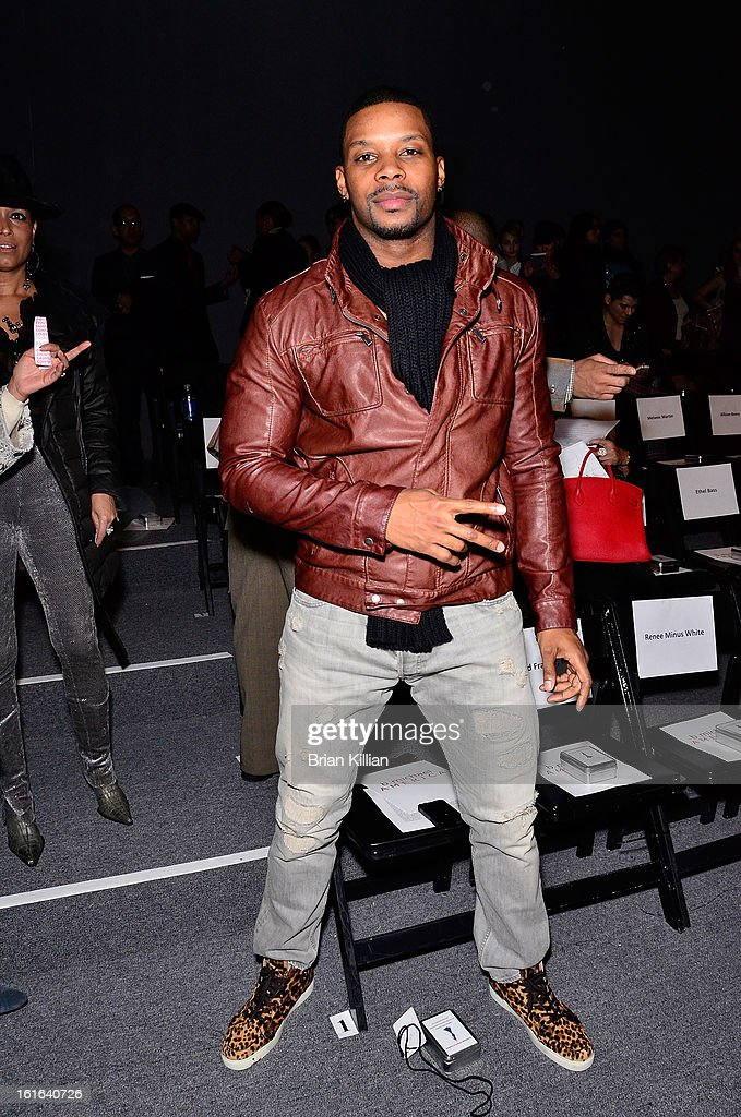 NFL safety Kerry Rhodes attends B Michael America during Fall 2013 Mercedes-Benz Fashion Week at The Studio at Lincoln Center on February 13, 2013 in New York City.
