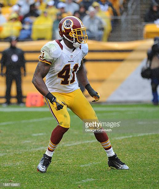 Safety Madieu Williams of the Washington Redskins pursues the play during a game against the Pittsburgh Steelers at Heinz Field on October 28 2012 in...