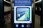 A safety message is displayed on a screen in the 14th Street subway station July 20 2016 in New York City The Metropolitan Transportation Authority...