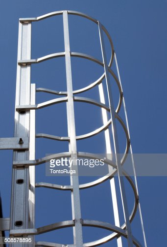 Safety Metal Ladder on Blue Sky : Stock Photo