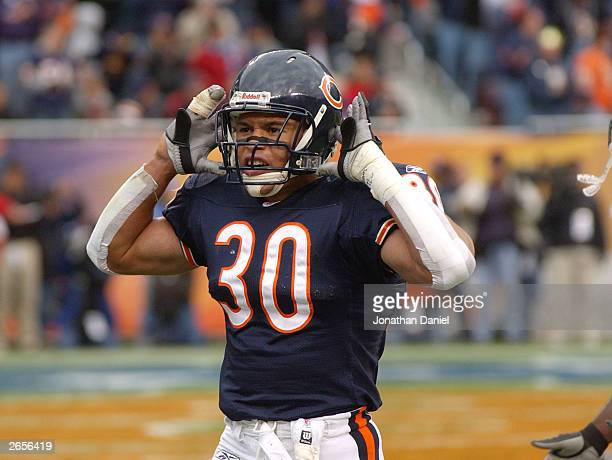Safety Mike Brown of the Chicago Bears encourages the fans to cheer during a game against the Detroit Lions on October 26 2003 at Soldier Field in...