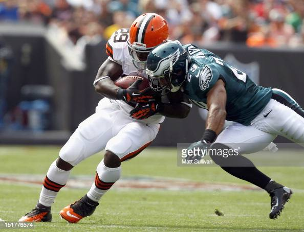 Safety Nate Allen of the Philadelphia Eagles hits running back Brandon Jackson of the Cleveland Browns their season opener at Cleveland Browns...