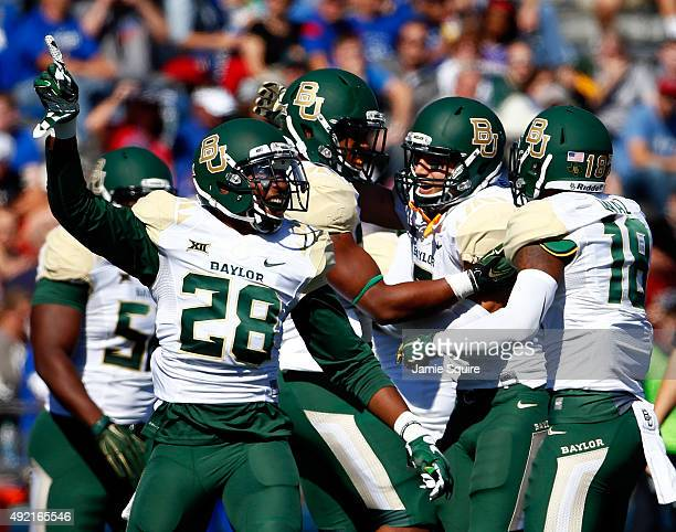 Safety Orion Stewart of the Baylor Bears celebrates after a fumble recovery during the game against the Kansas Jayhawks at Memorial Stadium on...