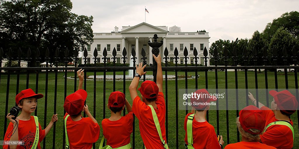 Safety Patrol members gather at the fence on the north side of the White House June 15, 2010 in Washington, DC. President Barack Obama will use a prime-time television address from the Oval Office tonight to tell the nation about his administration's efforts stem the economic and environmental impact of the BP Deepwater Horizon oil spill in the Gulf of Mexico.