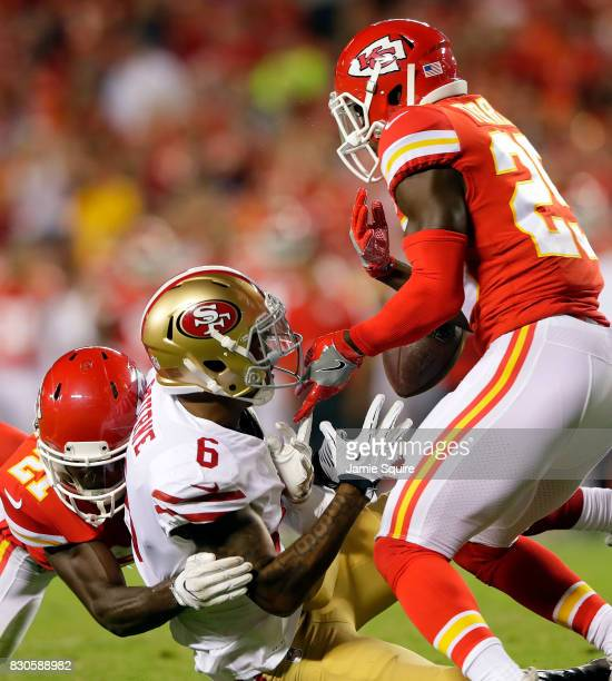 Safety Steven Terrell of the Kansas City Chiefs breaks up a pass intended for wide receiver Kendrick Bourne of the San Francisco 49ers during the...