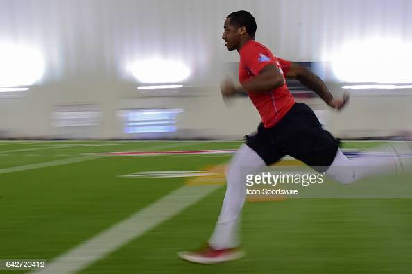 Safety Will Lacy runs the 40 yard dash during the 2017 NFL Houston Regional Combine on February 18 2017 at the Texans Training Facility Houston Texas