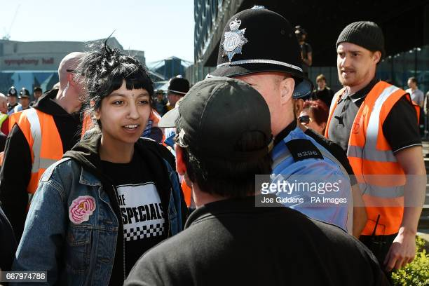 Saffiyah Khan confronts English Defence League protester Ian Crossland during a demonstration in the city of Birmingham in the wake of the...