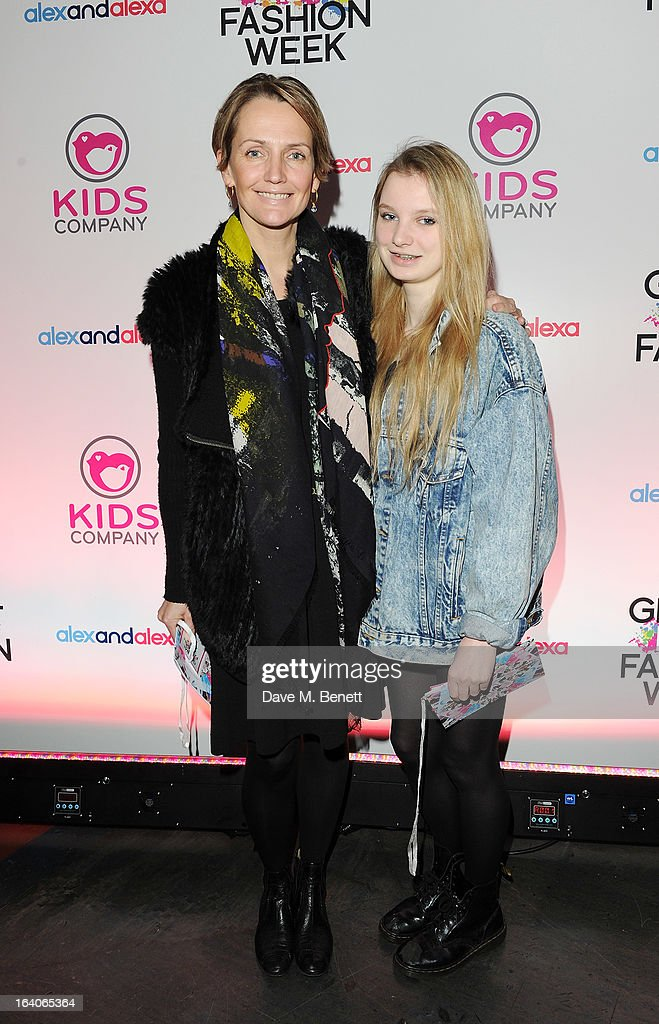 <a gi-track='captionPersonalityLinkClicked' href=/galleries/search?phrase=Saffron+Aldridge&family=editorial&specificpeople=208837 ng-click='$event.stopPropagation()'>Saffron Aldridge</a> with niece Rita arrives for the Global Kids Fashion Week AW13 media and VIP show at The Freemason's Hall on March 19, 2013 in London, England.