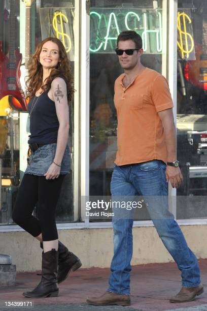 Saffron Burrows and Geoff Stults on the set of 'The Finder' on February 25 2011 in Miami Florida