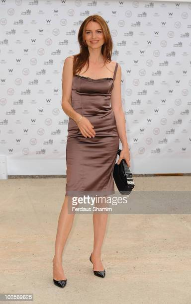 Saffron Burrows attends the Summer fundraising party for The Old Vic Theatre at Battersea Power station on July 1 2010 in London England