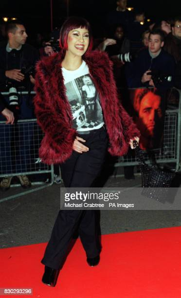 Saffron from the band Republica arriving for the premiere of the film 'End of Days' at a cinema complex at Surrey Quays south east London