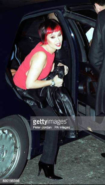 Saffron from the pop group Republica arrives at the Versace Jeans Couture Store in New Bond Street London where Donatella Versace was hosting the...