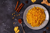 Saffron rice with spices. Top view, copy space.