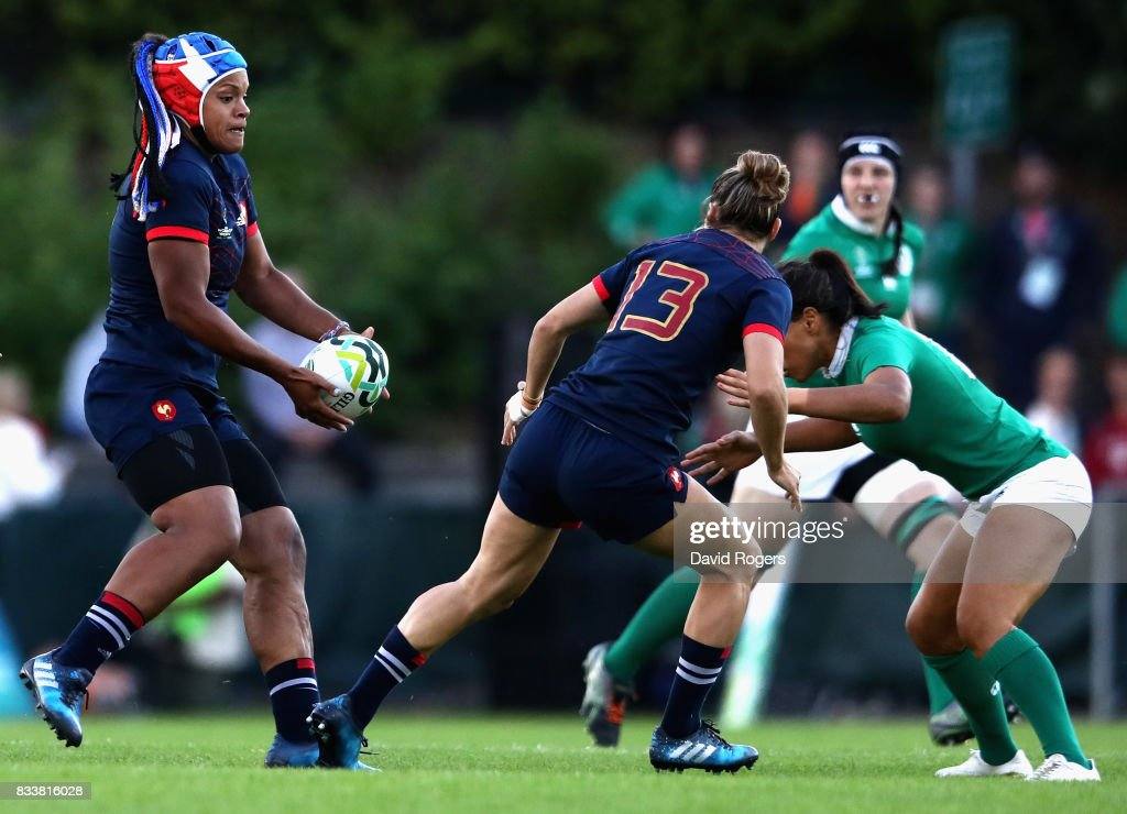Safi N'Diaye of France in action during the Women's Rugby World Cup Pool C match between France and Ireland at UCD Bowl on August 17, 2017 in Dublin, Ireland.