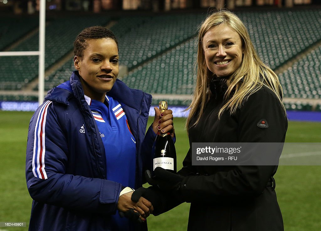 Safi N'Diaye of France receives the player of the match award after the Women's RBS Six Nations match between England and France at Twickenham Stadium on February 23, 2013 in London, England.