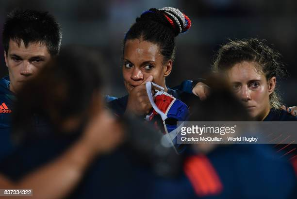 Safi N'Diaye of France wipes away a tear after the Womens Rugby World Cup semifinal between England and France at the Kingspan Stadium on August 22...