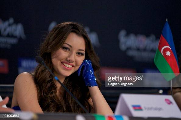 Safura of Azerbaijan attends a press conference after the second semi final at the Telenor Arena on May 27 2010 in Oslo Norway In all 39 countries...