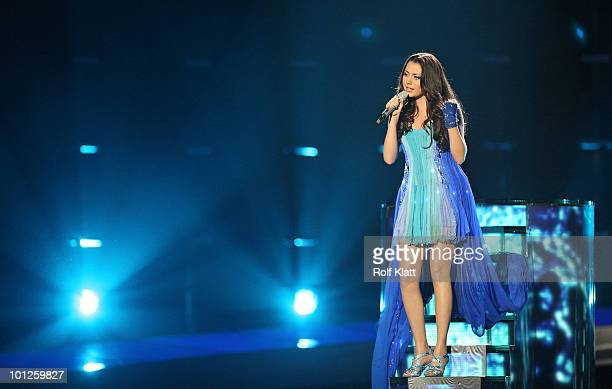 Safura of Azerbaijan performs her song 'Drip Drop' during the Grand Final of the Eurovision Song Contest 2010 on May 29 2010 in Oslo Norway