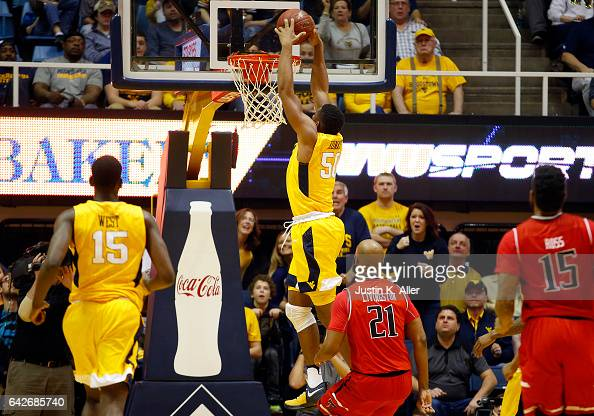 Sagaba Konate of the West Virginia Mountaineers dunks the ball against the Texas Tech Red Raiders at the WVU Coliseum on February 18 2017 in...