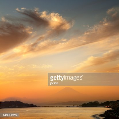 Sagami Bay with Mt. fuji in the background : Stock Photo