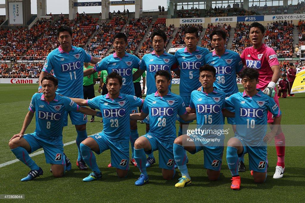 Sagan Tosu players line up for the team photos prior to the J.League match between Shimizu S-Pulse and Sagan Tosu at IAI Stadium Nihondaira on May 6, 2015 in Shizuoka, Japan.