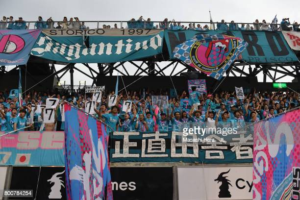 Sagan Tosu supporters cheer prior to the JLeague J1 match between Sagan Tosu and Urawa Red Diamonds at Best Amenity Stadium on June 25 2017 in Tosu...