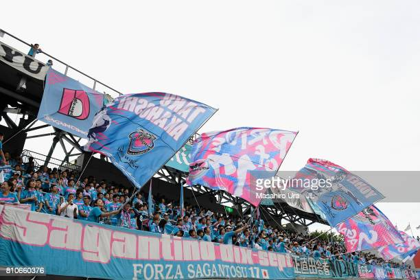 Sagan Tosu supporters cheer prior to the JLeague J1 match between Sagan Tosu and Kawasaki Frontale at Best Amenity Stadium on July 8 2017 in Tosu...