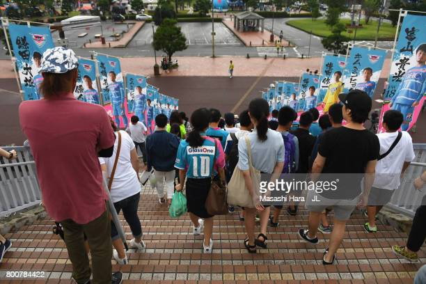 Sagan Tosu supporters make their way to the stadium prior to the JLeague J1 match between Sagan Tosu and Urawa Red Diamonds at Best Amenity Stadium...