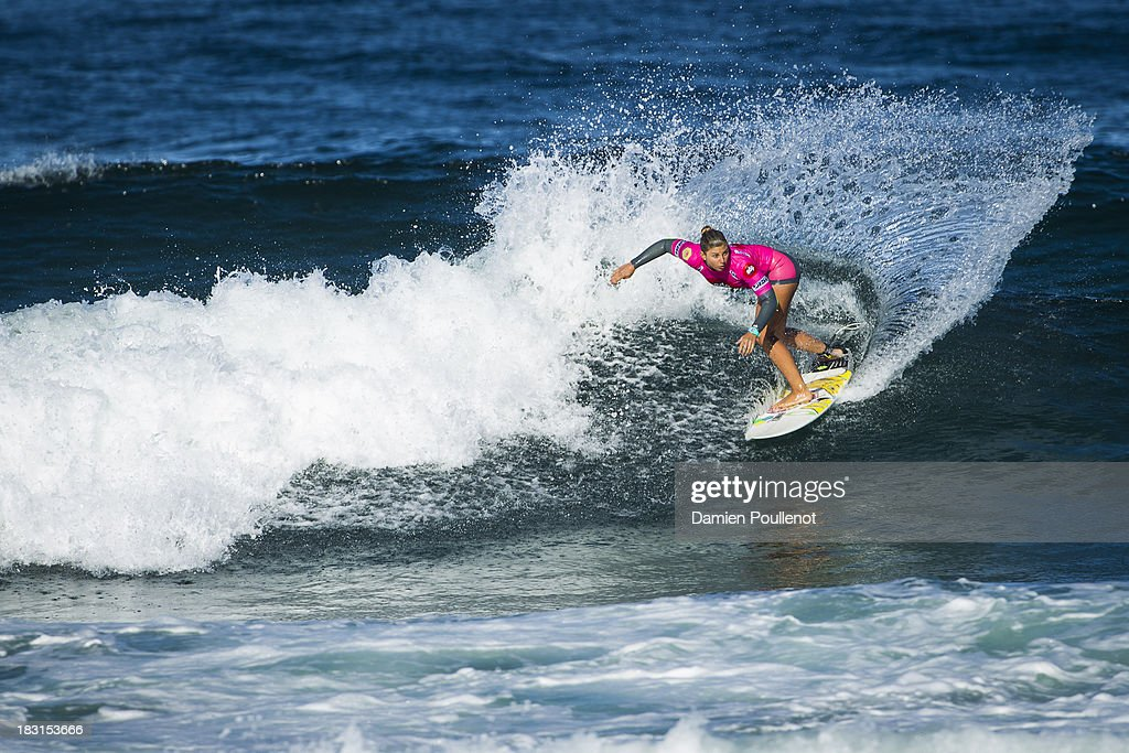 Sage Erickson from USA was defeated by Cariisa Moore in the semi final at EDP Girls Pro on October 5, 2013 in Cascais, Portugal.