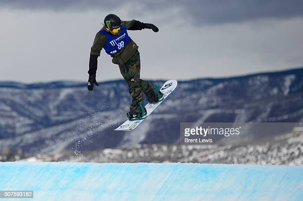 Sage Kostenburg starts to spin going into the first jump of his second run during Snowboard Slopestyle Men's Final at Winter X Games 2016 at...